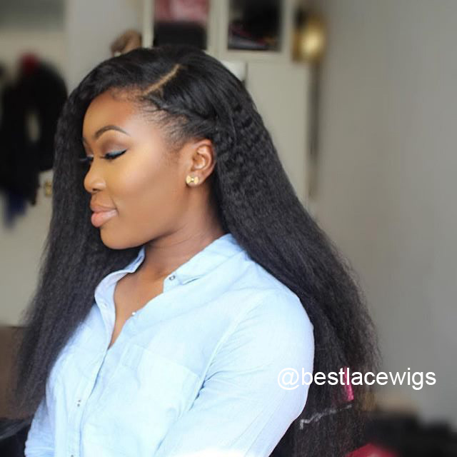 3pcs Virgin Indian Hair Weaves With 1pc Lace Closure Kinky Straight