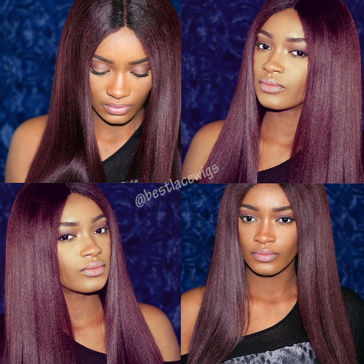 Kinky Straight Virgin Indian Hair Glueless Lace Front Wigs [GSW147]