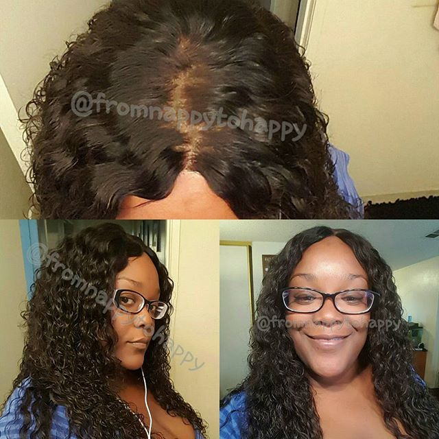 Middle Part Lace Closure With 3Pcs Virgin Peruvian Hair Weaves Brazilian Curl [MW35]