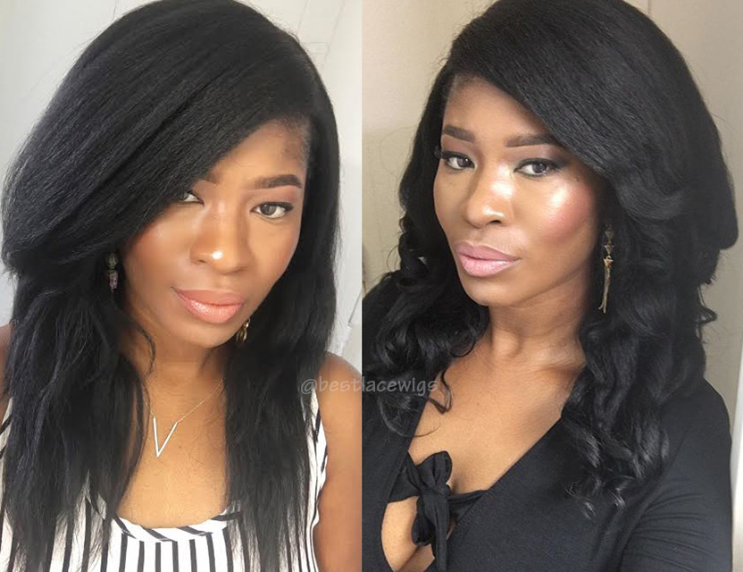 Middle Part Lace Closure With Virgin Peruvian Hair Kinky Straight 3Pcs Hair Weaves [MW74]