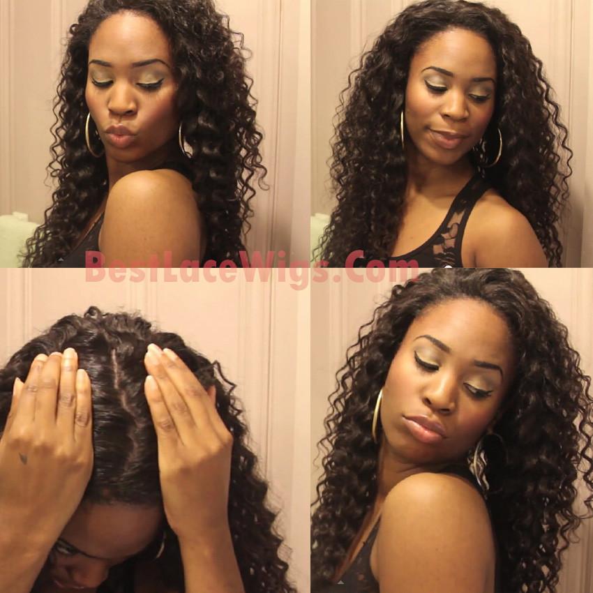 Silk Top Glueless Full Lace Wigs Deep Wave Virgin Human Hair