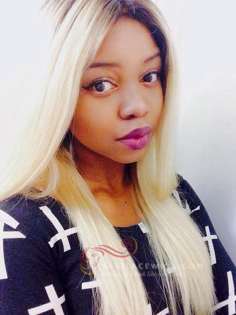 Glueless Lace Wigs Virgin Dark Roots Blonde Silky Straight