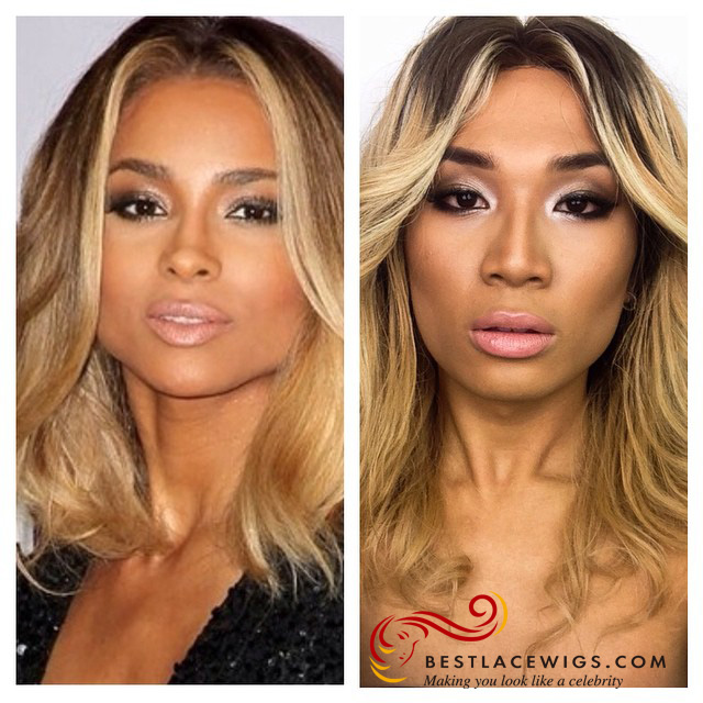 Three Tones Ombre Ciara Lace Wigs With Wavy Virgin Human Hair